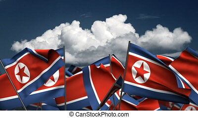 Waving North Korea Flags (seamless & alpha channel)