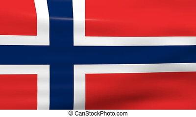 Waving Norway Flag, loop ready.