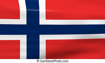 Waving Norway Flag, loop ready.