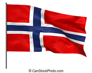 Norwegian flag - Waving Norwegian flag isolated over white...