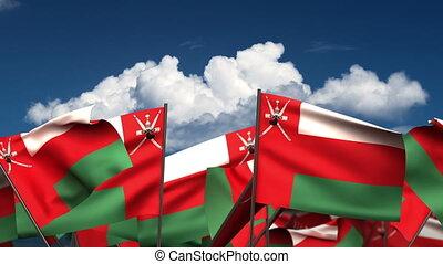 Waving Oman Flags (seamless & alpha channel)