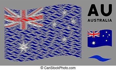 waving, onda, itens, colagem, forma, bandeira austrália