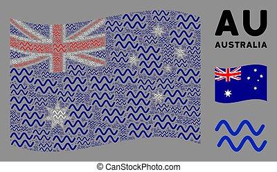 waving, ondas, itens, austrália, mosaico, sinusoid, bandeira
