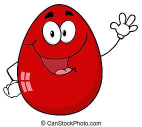 waving, ovo páscoa, vermelho, personagem