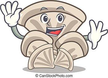 Waving oyster mushroom character cartoon