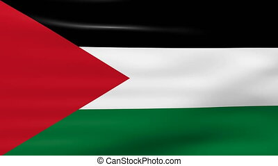 Waving Palestine Flag, ready for seamless loop.