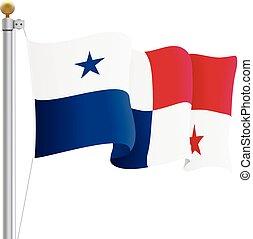 Waving Panama Flag Isolated On A White Background. Vector Illustration.