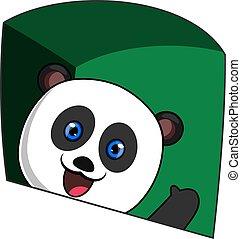 Waving panda, illustration, vector on white background.