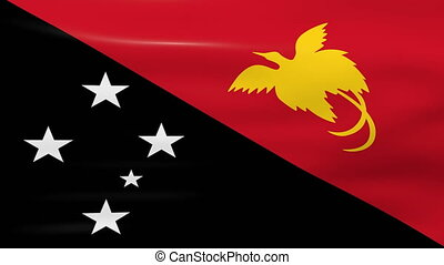 Waving Papua New Guinea Flag, ready for seamless loop.