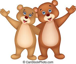 waving, par, caricatura, urso, mão
