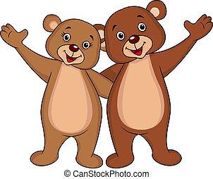 waving, par, urso, mãos