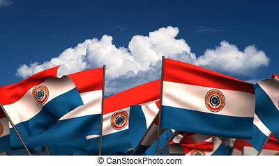 Waving Paraguayan Flags