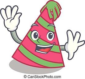Waving party hat character cartoon vector illustration