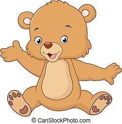 waving, pelúcia, caricatura, urso, mão