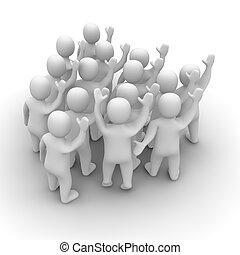 Waving people group