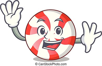 Waving peppermint candy character cartoon
