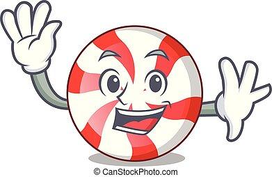 Waving peppermint candy character cartoon