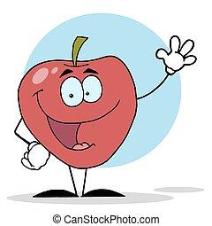 waving, personagem, maçã, vermelho