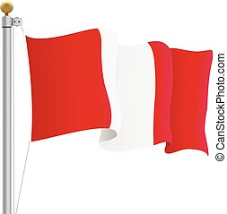 Waving Peru Flag Isolated On A White Background. Vector Illustration