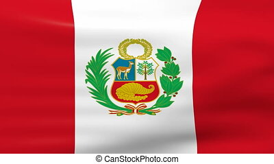 Waving Peru Flag, ready for seamless loop.