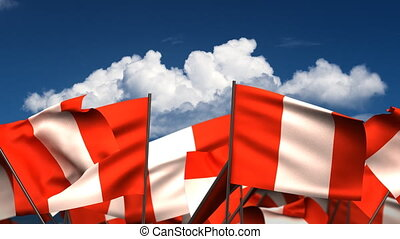 Waving Peruvian Flags