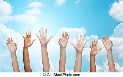 waving, pessoas, mãos