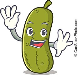 Waving pickle character cartoon style