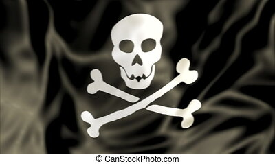 waving Pirate Flag - 3D Pirate Flag waving, white skull and...