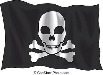Pirate flag - Waving Pirate flag isolated on white...
