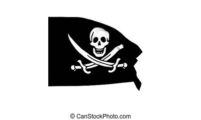 Waving pirate Jolly Roger flag 4K render clip. Pro Res with alpha channel
