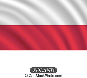 Waving Poland flag on a white background. Vector illustration