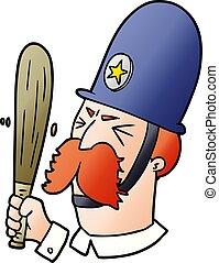 waving, policial, caricatura, batuta