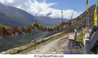 Waving Prayer Flags in Nepal