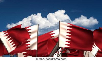 Waving Qatari Flags (seamless & alpha channel)