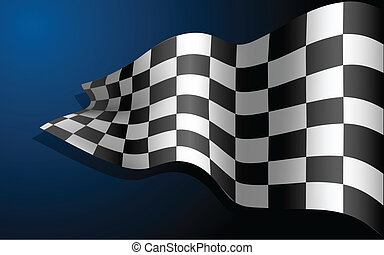 Waving Race Flag - illustration of waving formula one race...