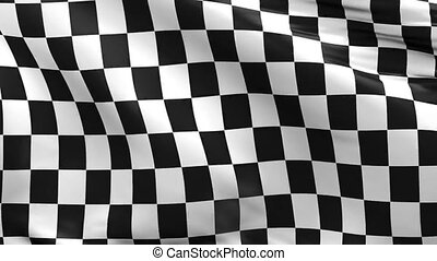 Waving race flag using as background, 3d animation
