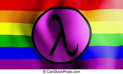 waving rainbow flag lambda sign