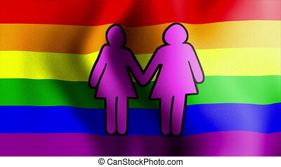 waving rainbow flag two female sign - Rainbow Flag Series 1:...