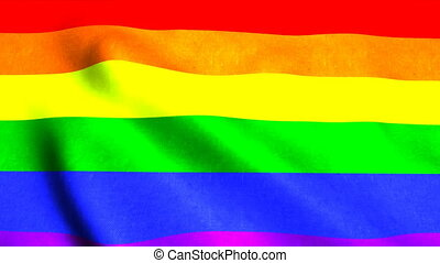 Waving rainbow gay rainbow flag on wind, 3d rendering...