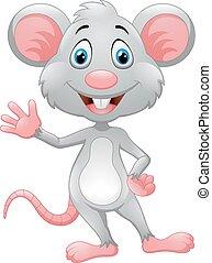waving, rato, caricatura, mão