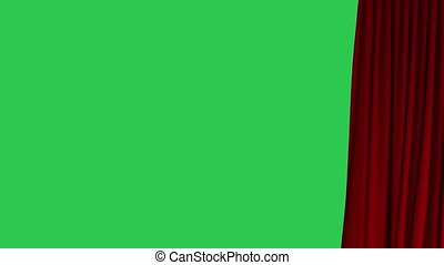 Waving red curtain opening and closing on green screen. 3d rendering, animation of cloth revealing background.
