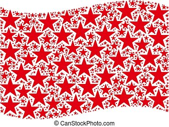 Waving Red Flag Collage of Confetti Star Icons