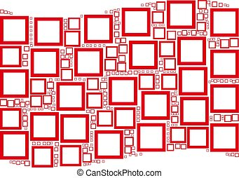 Waving Red Flag Collage of Contour Square Icons