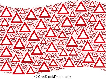 Waving Red Flag Collage of Contour Triangle Icons