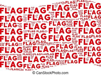 Waving Red Flag Collage of Flag Texts