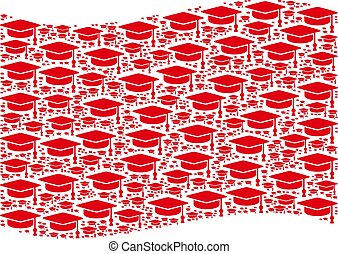 Waving Red Flag Collage of Graduation Cap Items