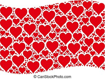 Waving Red Flag Collage of Hearts Suit Items