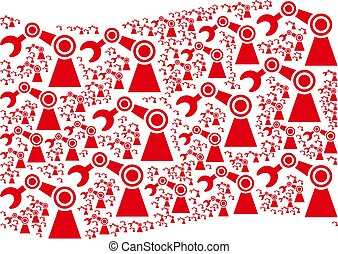 Waving Red Flag Collage of Industrial Robot Icons