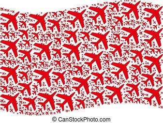 Waving Red Flag Collage of Jet Plane Items