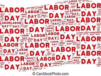Waving Red Flag Collage of Labor Day Texts